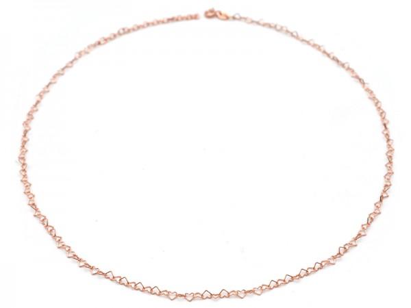 """Gliederkette """"Herzen"""" (40+5cm) rosevergoldet"""