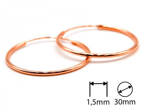 Creolen (1,5 mm)(30 mm) (1Paar) rosevergoldet