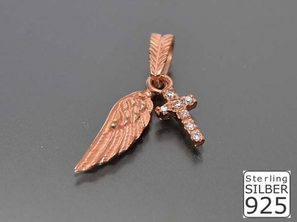 """Anhänger """"Flügel"""" mit Stein, rosevergoldet"""