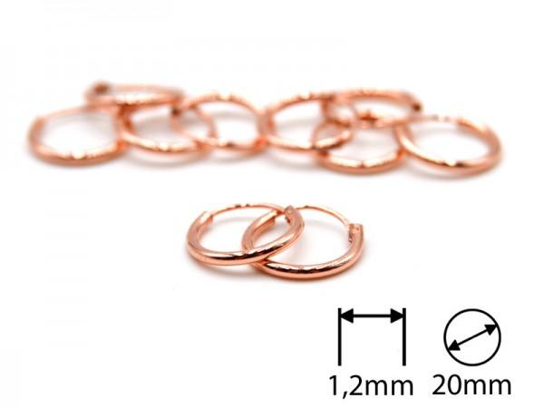 Creolen (1,2 mm)(20 mm) (5Paar) rosevergoldet