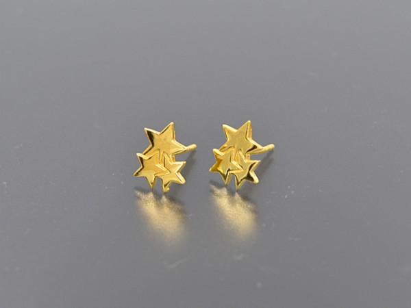 "Ohrstecker ""Sterne"",vergoldet glänzend"