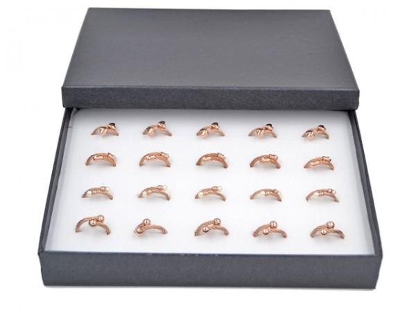 Edelstahlring Box (20 Stück) (vier Designs) , rosevergoldet
