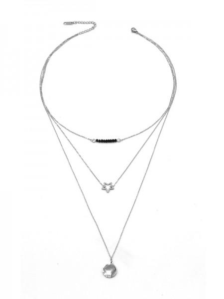 """Edelstahlkette """"Star"""" (60cm) 3-reihig"""