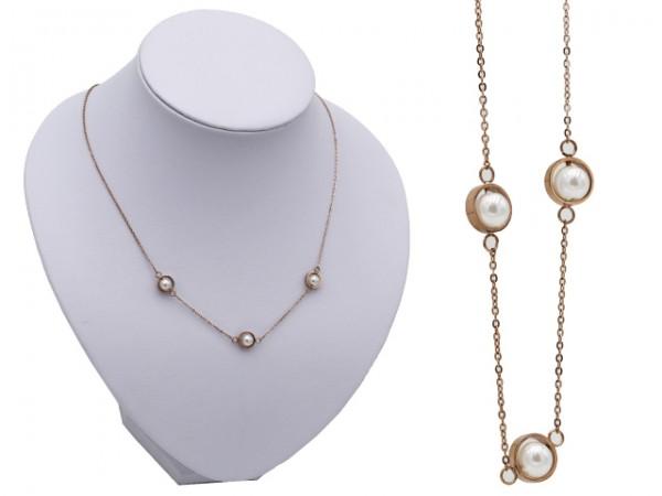 """Edelstahlkette """"Pearl"""" (43+3cm)"""