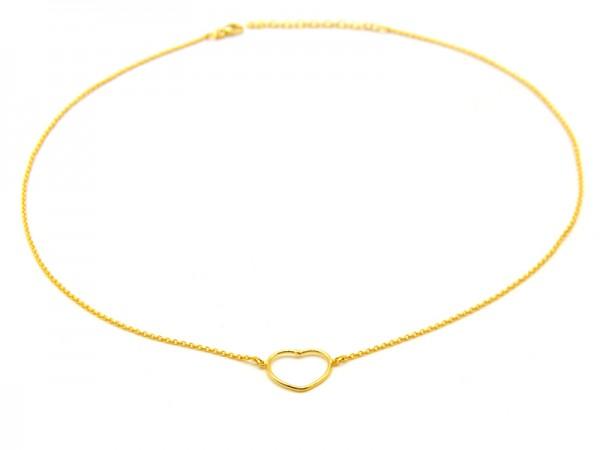 "Collier ""Herz"" (40+5cm) vergoldet"