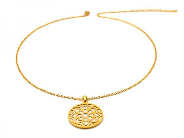 """Edelstahlkette """"Blume"""" (50+5cm) vergoldet"""