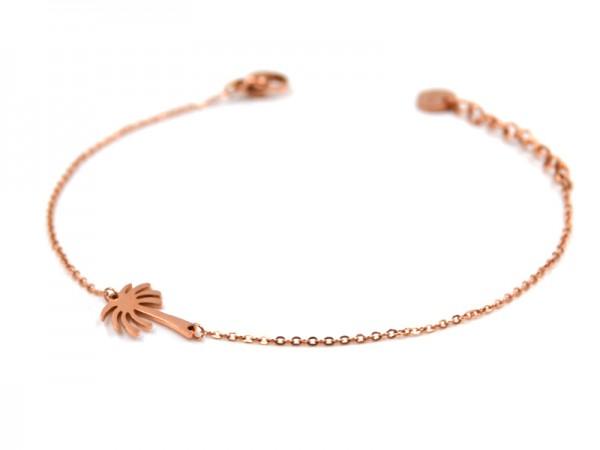 Edelstahlarmband mit Palme in rose gold (17cm+5cm)
