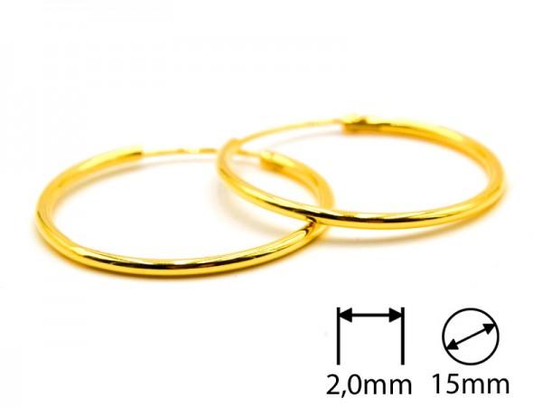 Creolen (2,0 mm)(15 mm) (1Paar) vergoldet