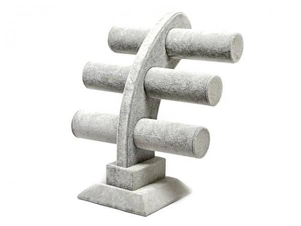 Armbandständer mit drei Rollen, grau