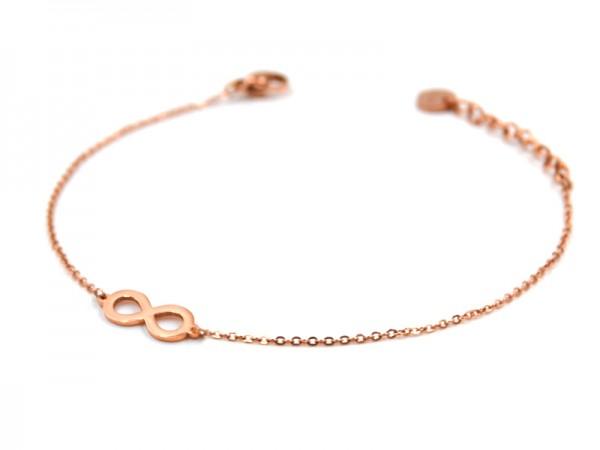 Edelstahlarmband mit infinity in rose gold (17cm+5cm)