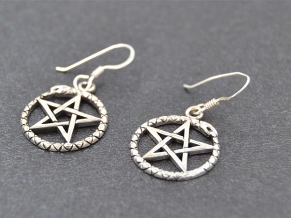 """Ohrhänger """"Pentagramm mit Schlange"""" (17 mm)"""