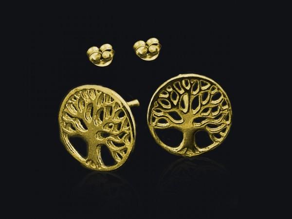 """Ohrstecker """"Baum des Lebens"""" vergoldet (10mm)"""