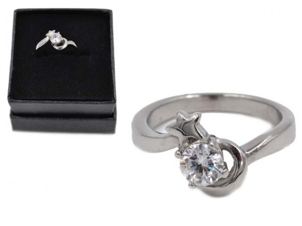 "Edelstahlring ""Moon and Star""mit Zirkonia (Boxed)"