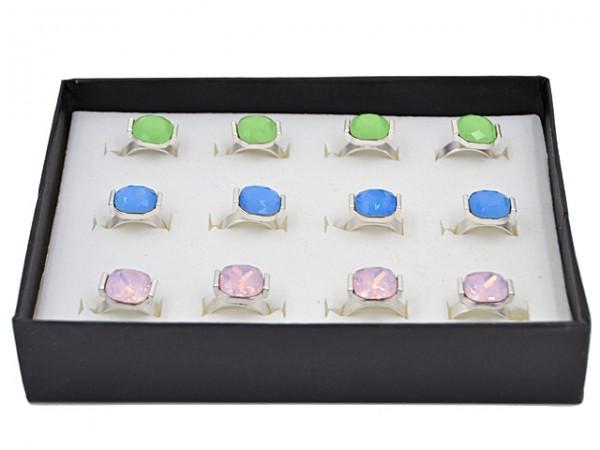 Ring Box, sortiert (12 Stück) Größen verstellbar
