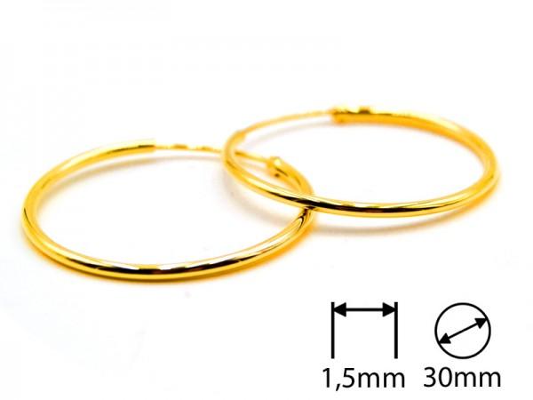 Creolen (1,5 mm)(30 mm) (1Paar) vergoldet