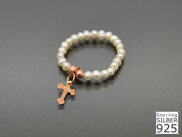"""Perlenring mit Rosegoldanhänger """"Cross"""","""