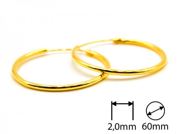Creolen (2,0 mm)(60 mm) (1Paar) vergoldet