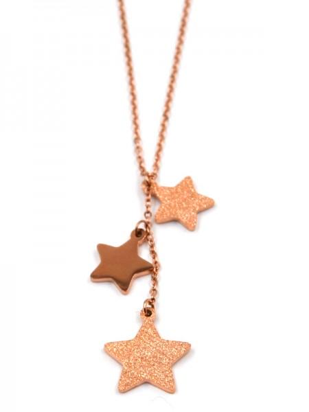 Edelstahlkette mit Sterne inrose gold (45cm + 5cm)