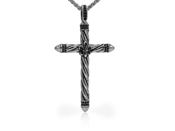 """Edelstahlanhänger """"Kreuz mit Lilie"""""""