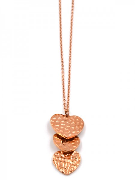 Edelstahlkette mit Herz in rose gold (45cm + 5cm)