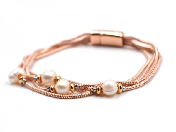Armband rosegold mit Perlen (18,5cm)