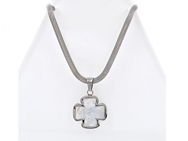 """Edelstahlkette """"Kreuz mit Perlmutt"""" (45 cm)"""