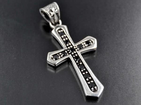 """Anhänger """"Kreuz mit Stein"""", Onyx"""