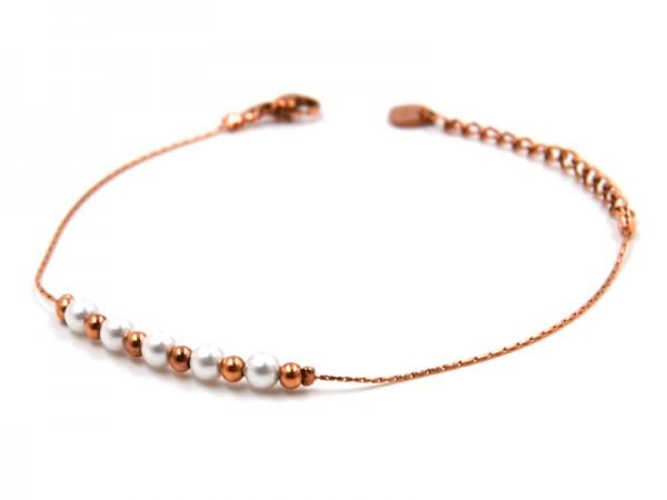 Edelstahlarmband mit Perlen in rose gold (17cm+5cm)