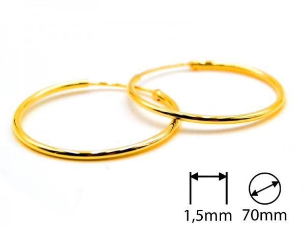 Creolen (1,5 mm)(70 mm) (1Paar) vergoldet