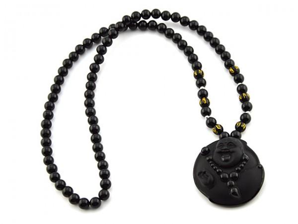 """Kette """"Big Buddha"""" aus Obsidian"""