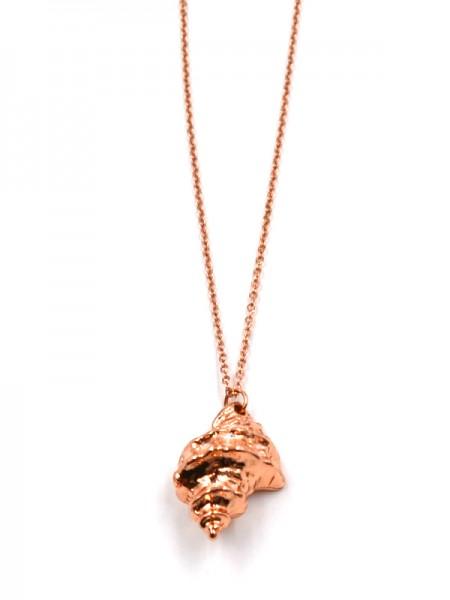 Edelstahlkette mit Muschel in rose gold (45cm + 5cm)