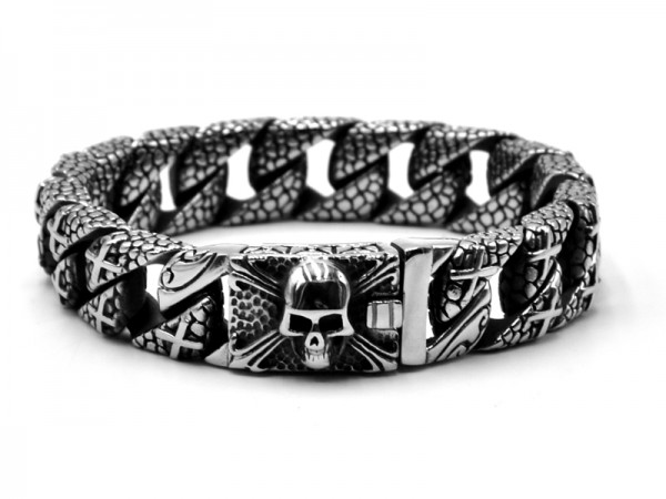 "Edelstahl Panzerarmband ""Skull"" (22,5cm)"