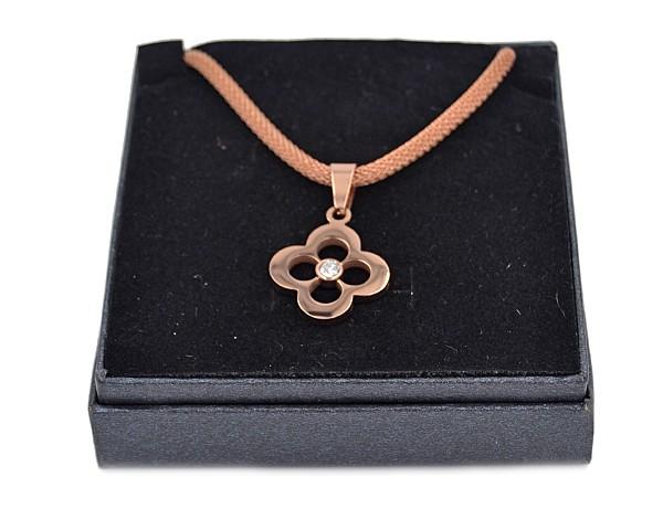 """Edelstahlkette """"Mesh, Blume"""" rosevergoldet (45 cm)"""