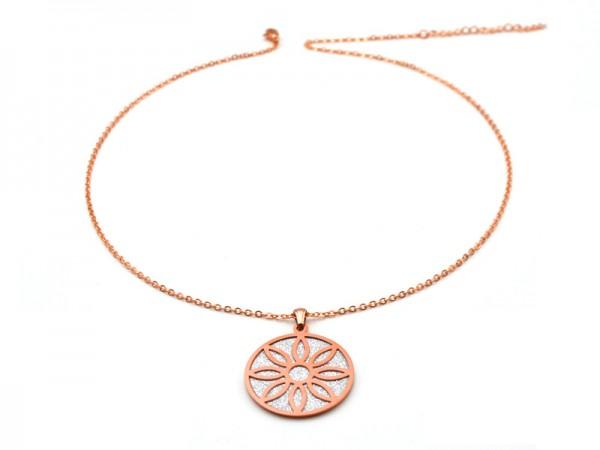 """Edelstahlkette """"Blume"""" (50+5cm) rosevergoldet"""