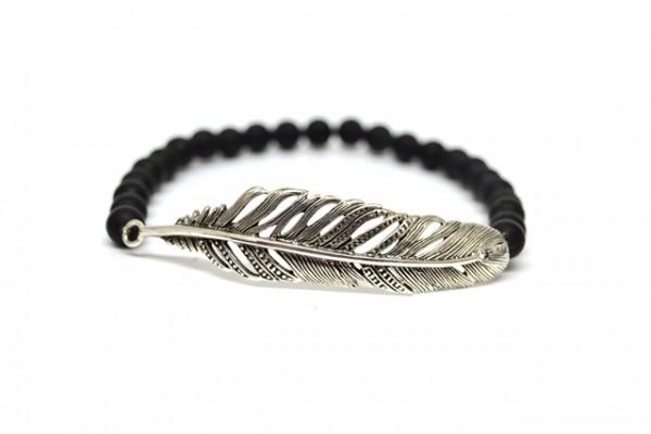 "Armband Black Pearl ""Feder"" (19 cm)"