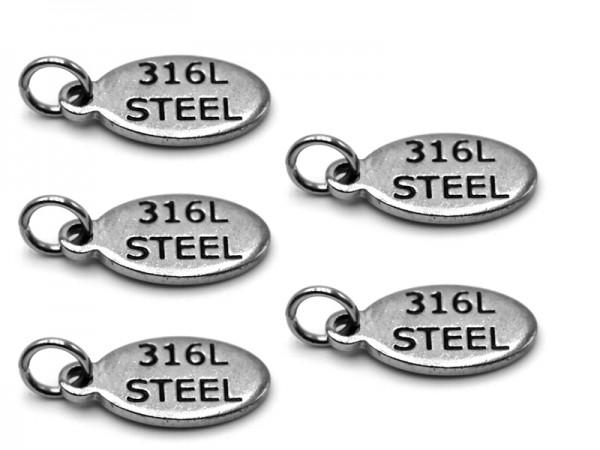 """Edelstahlanhänger """"316L STEEL"""" (14x6mm) 5er Pack"""