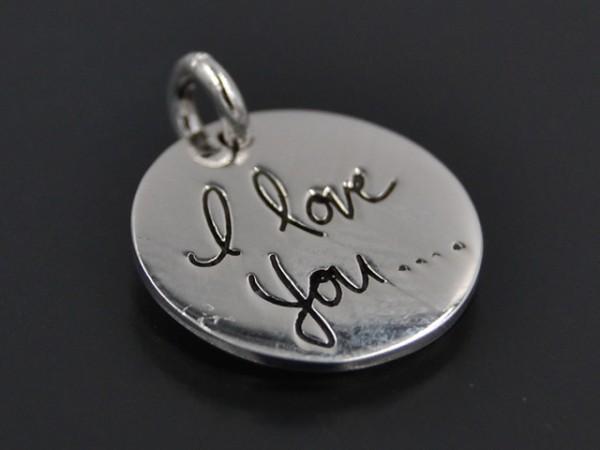 "Anhänger Kreis ""I love you"" (15mm)"