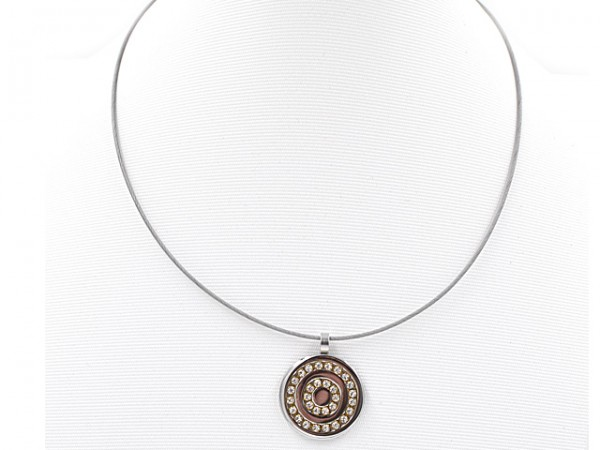 "Edelstahlhalsreifen ""Crystal Circle"" (45 cm)"